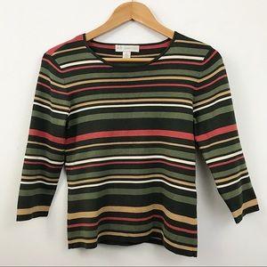 Vintage classic striped 3/4 sleeve mini blouse